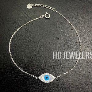 Solid 14K White Gold Evil Eye Lab-Diamond Bracelet